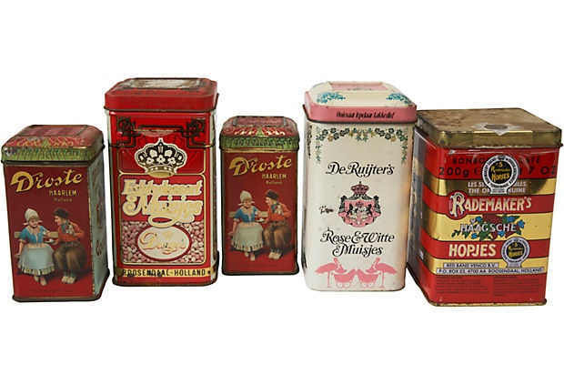 Vintage Dutch Candy Tin Cans