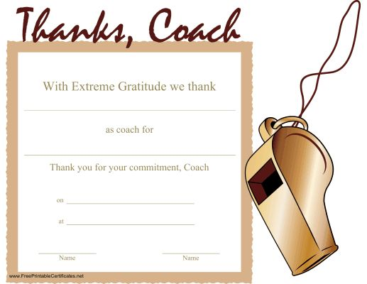 a printable certificate thanking a coach for his or her commitment ...