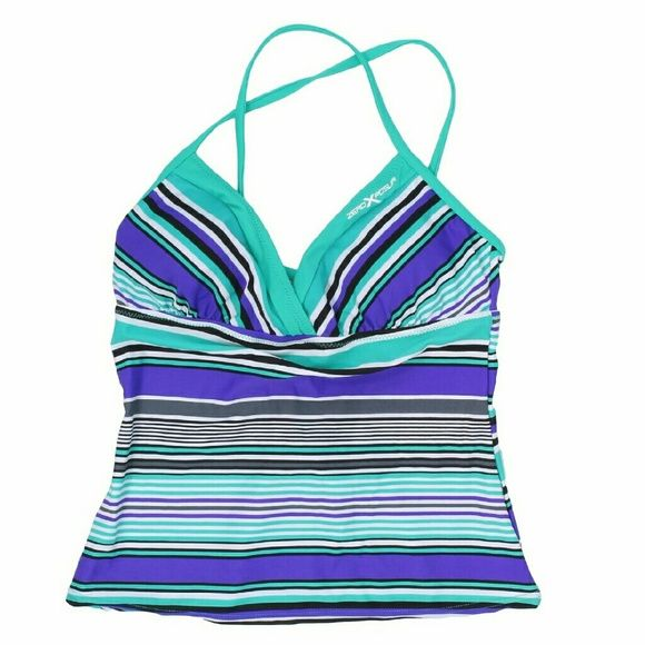 Purple and green tankini sports bathing suit top Brand new zeroxposur bathing suit tankini top  Zeroxposur fuses art with technical design to construct apparel and accessories that define the extreme sports lifestyle zeroxposur Swim Bikinis