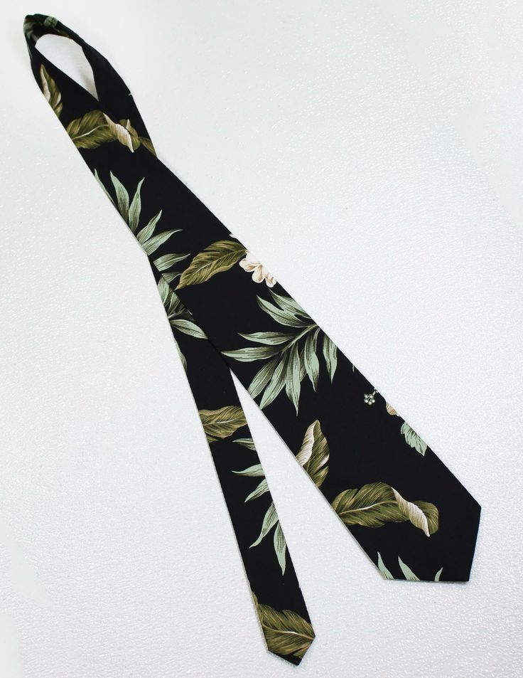 Tropical Maylea Black Necktie : Shaka Time Hawaii Clothing Store