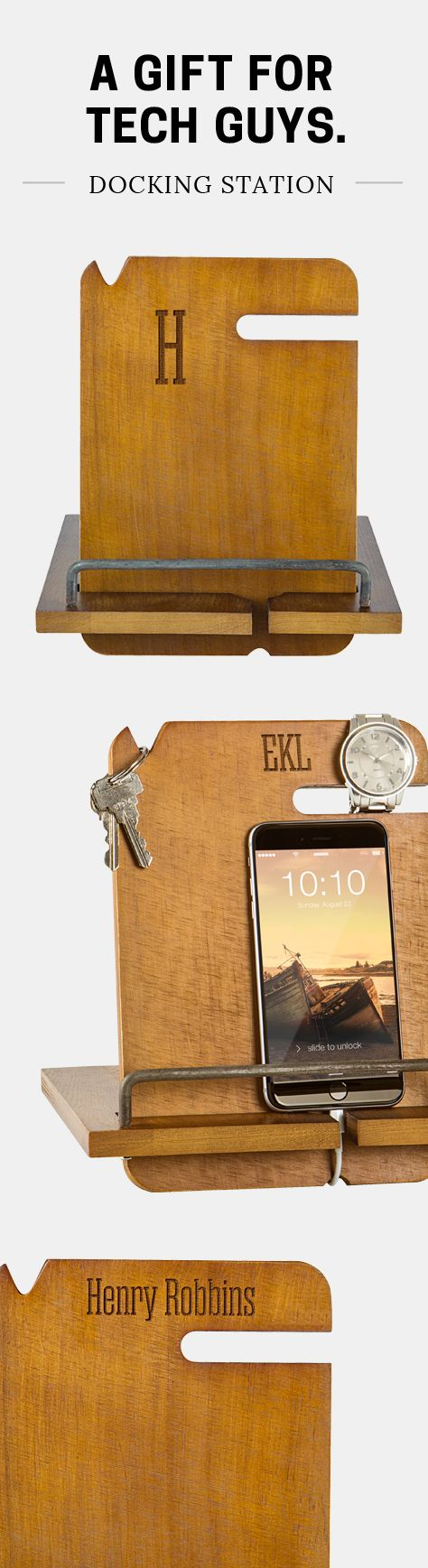 This rugged, hand-crafted wood docking station is the perfect gift idea for any guy.  Great for your boyfriend, husband, dad, or brother. Keep all his day-to-day necessities organized and close at hand with this personalized nightstand organizer and mobile docking station.  Featuring a slot for watches, a keychain notch at the top,  and  space for your wallet and smartphone. To order, visit https://www.tippytoad.com/personalized-wood-nightstand-docking-station.asp