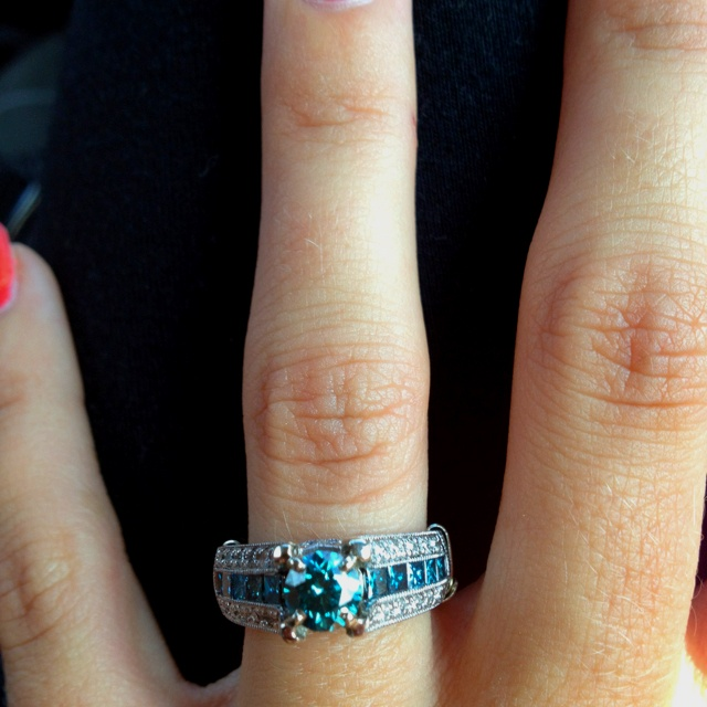 126 Best Blue Diamond Engagement Rings Images On Pinterest