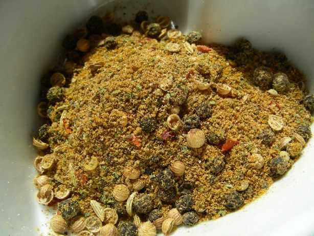 My take on Cape Malay curry powder; I devised this when I finally finished my precious box of this type of curry powder, that had been sent to me in a Herbs and Spices swap by Zurie! I checked the ingredients list and finally after a little trial and error, I came up with this, and it is a pretty close match! Influenced by Malay cuisine, Cape/Malay curry powder/masala is a blend of sweet and pungent spices to include cloves, cardamon, fennel, mustard, coriander, turmeric, fenugreek, a ...
