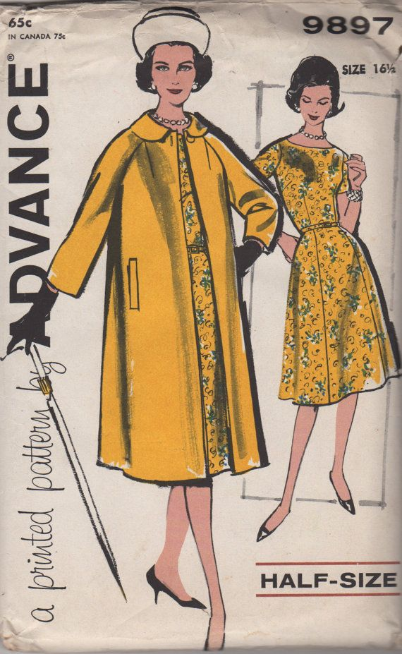 1960s Advance 9897 DRESS and COAT Pattern ala Queen Elizabeth womens vintage sewing pattern by mbchills