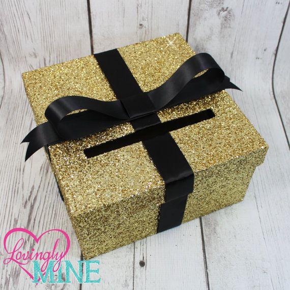 Cardbox Glitter Gold and Black Gift Money Box by LovinglyMine