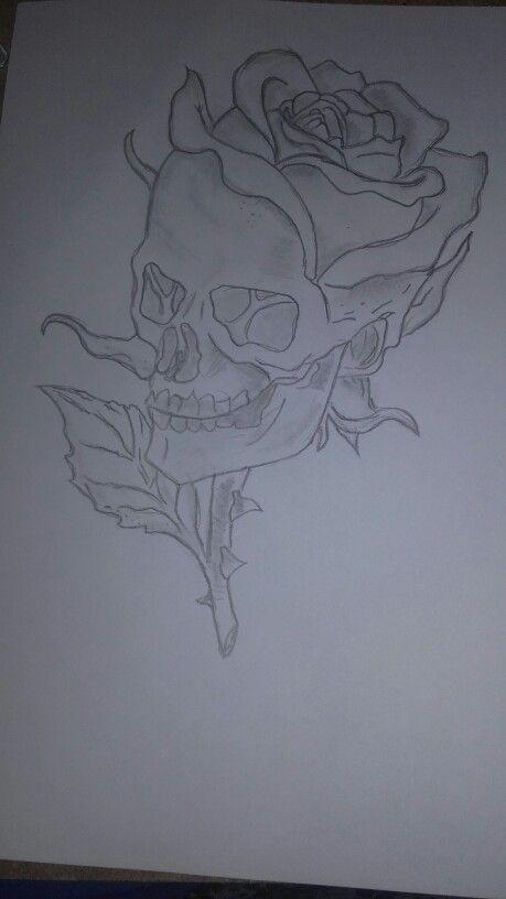 Rózsás koponya rajz :)