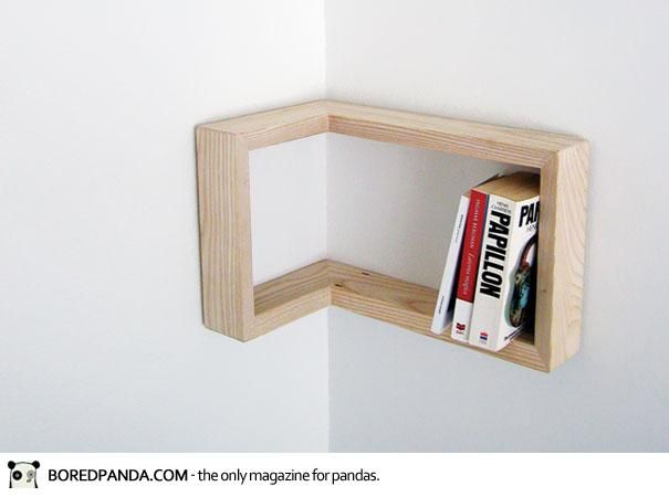Shelves that go around corners.
