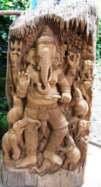 Carved Ganesha statue More