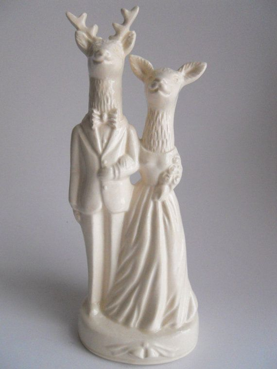 Deer Couple Wedding Cake Topper