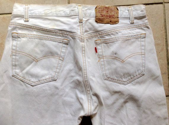 Levi 501 Jeans  White Levi 501 Vintage Jeans  by KarynJamieDesigns