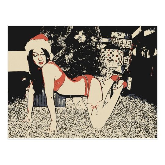 Miss Santa gone wild, sexy erotic christmas arts Postcard