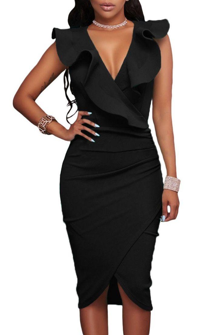 Elegant Black Ruffle V Neck Bodycon Midi Formal Dress modeshe.com