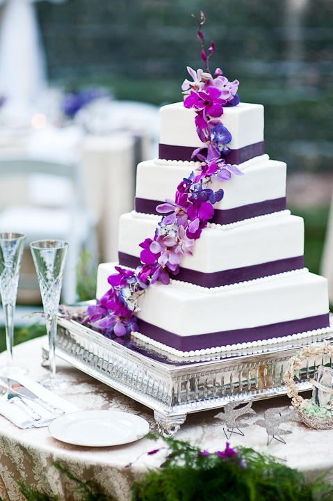 square wedding cakes purple flowers i how each tier is a bit uneven wedding 20409