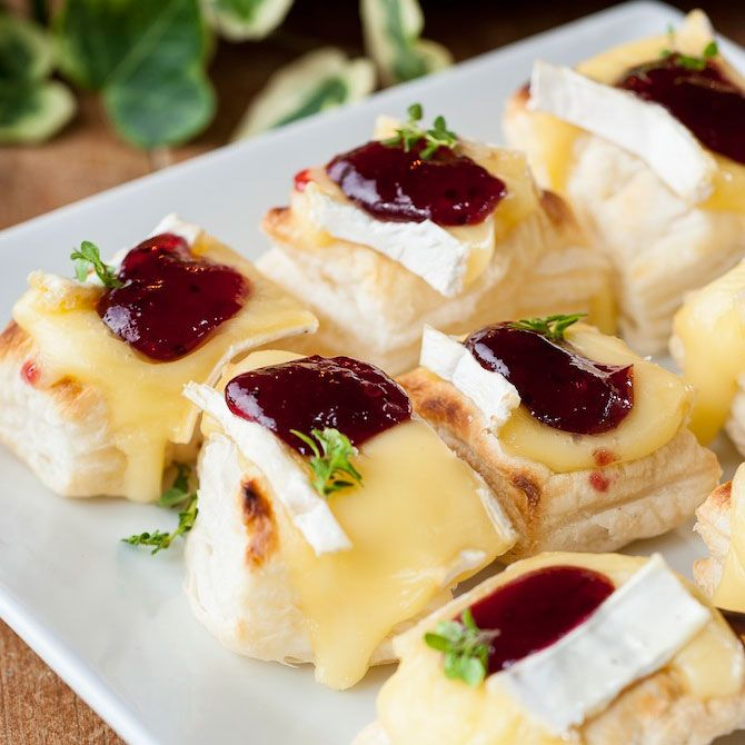 Brie and cranberry bites.  These use Puff Pastry for a quick appetizer.  Buy it ready made for a great holiday appetizer!