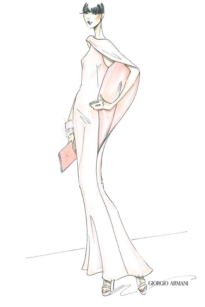An illustration from the capsule collection inspired by Armani's fall Privé show. [Photo by Steve Eichner]