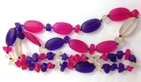 HOT PINK PURPLE handmade long necklace knotted by MissionDesign
