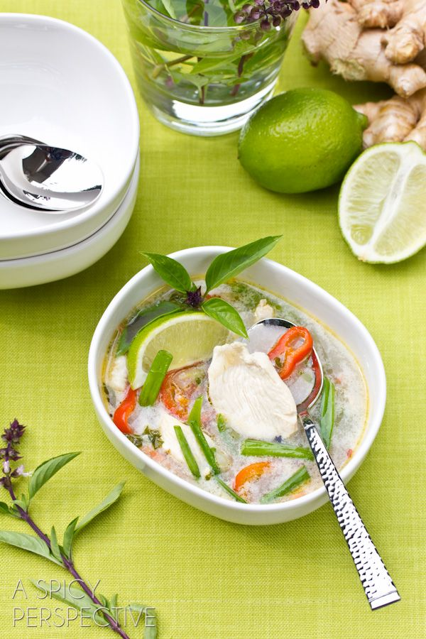 Thai Chicken Soup Recipe | ASpicyPerspective.com - Oh man thai anything am I right?!