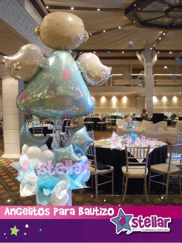 centros de mesa para bautismo | con 10 centros de mesa y su arreglo de globos jumbo para su mesa ...
