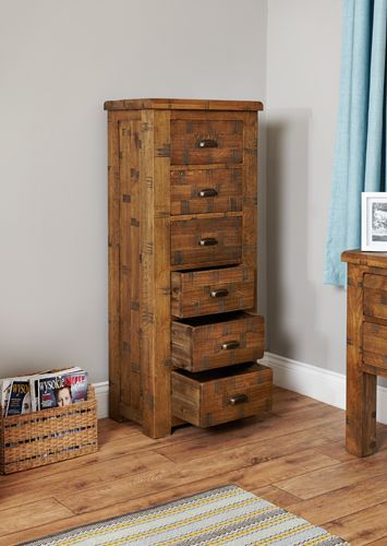 Rough Sawn Oak Tallboy 6 Drawer  #wood #oak #furniture #drawer storage #home #interior #decor #livingroom #lounge #bedroom