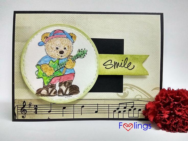 Handmade card, teddy card, Rockstar teddy