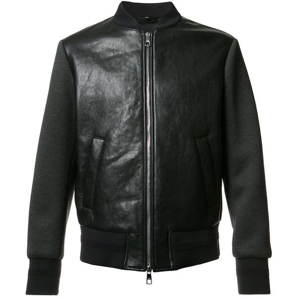 Neil Barrett Tattooed Statue leather bomber jacket ($1,414) ❤ liked on Polyvore featuring men's fashion, men's clothing, men's outerwear, men's jackets, black, mens gothic jacket, mens leather flight jacket, mens leather jackets, mens real leather jackets and mens leather bomber jacket
