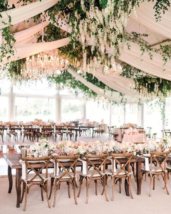 Romantic Blush And Greenery Wedding Reception Decoration