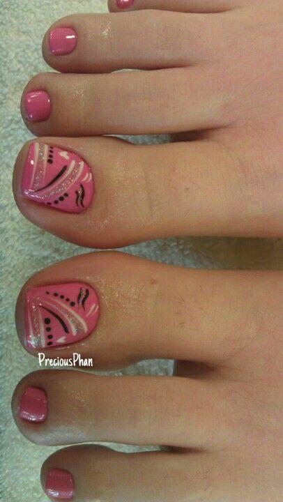 Pedicure, Toe Nail Art: Pink And Abstract Decoration
