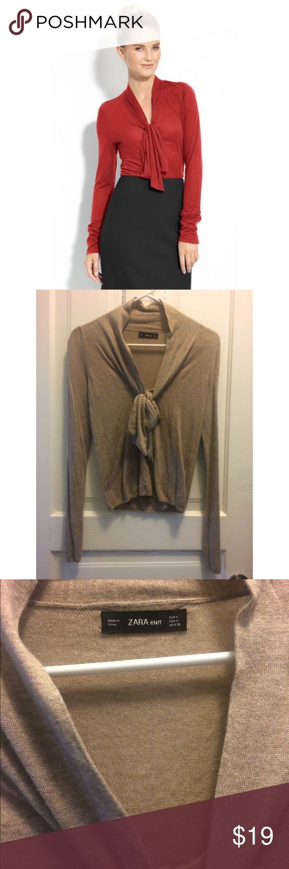 Zara sexy Front Bow secretary knit top Zara sexy Front Bow secretary knit top in tan/camel. Never worn. looks wrinkly bc i kept it in storage. Will steam iron upon sale. Very cute and sexy. Unfortunately too tight for me. (First pic is not of actual/not mine) Zara Tops Blouses