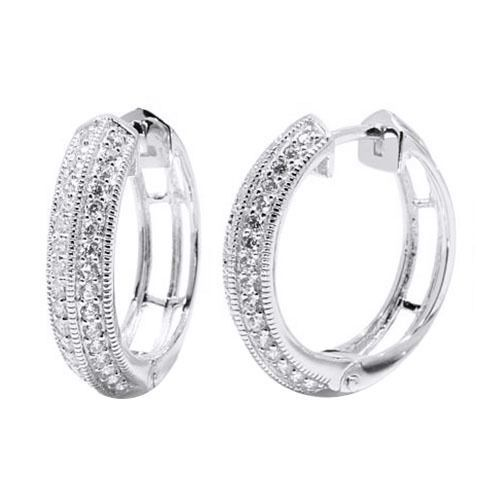 0.64 Ct D/VVS1 Round Cut 14K White Gold Finish Hoop Earrings #AffinityFashionJewelry #Hoop #EngagementWeddingAnniversaryPromiseValentine