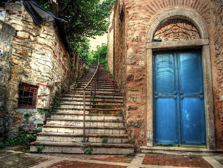 Balat Istanbul.traditional Jewish quarter in the Fatih district of Istanbul. under rehabilitation.(A  joint programme of European Union and Fatih Municipality)