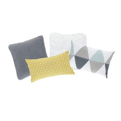 4 cojines de algodón de colores 25 x 40 cm a 30 x 50 cm NORDIQUE   Maisons du Monde