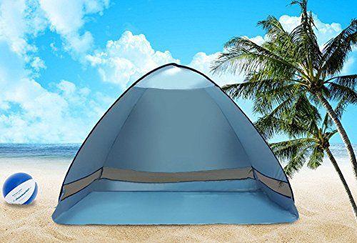 azlife portable Anti UV 3–4personne Pop Up Tente Abri Soleil de plage avec sac de transport (Bleu): Anti UV Tissu polyester 170T–Argenté…