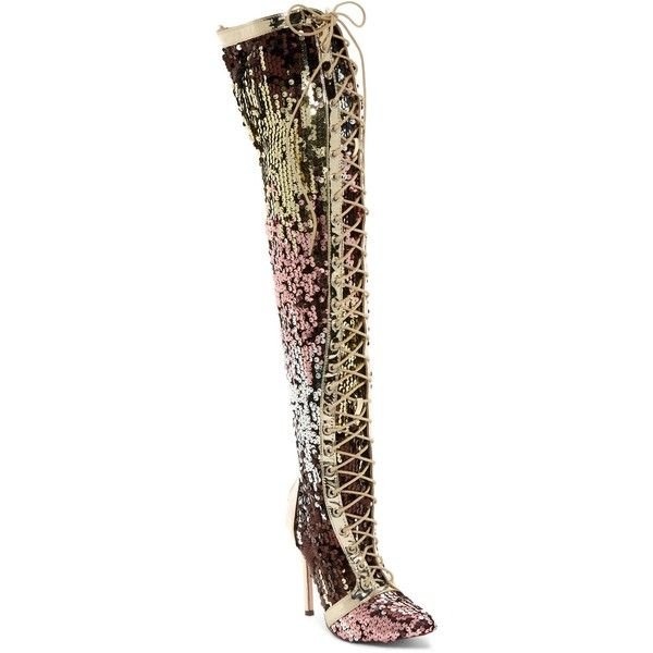 09ddc936 Chase & Chloe Hokkaido Lace-Up Sequined Thigh High Boot ($50 ...