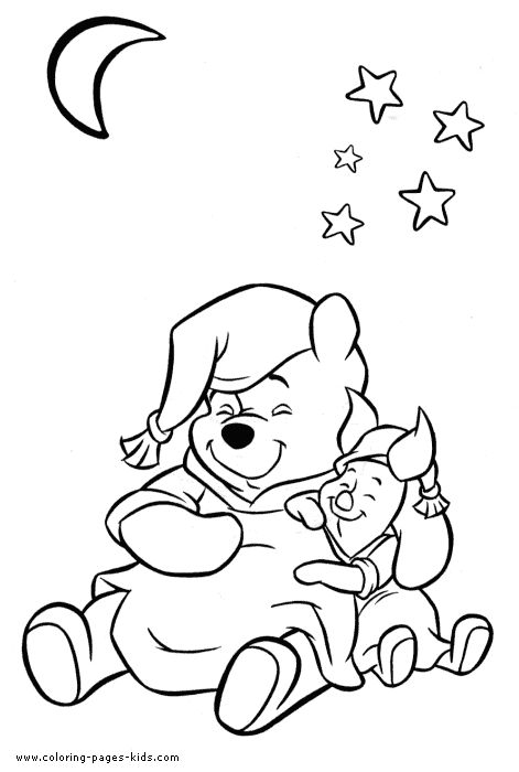 Winnie And Piglet The Pooh Color Page Disney Coloring Pages Plate