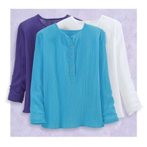 Crinkled Henley Tunic