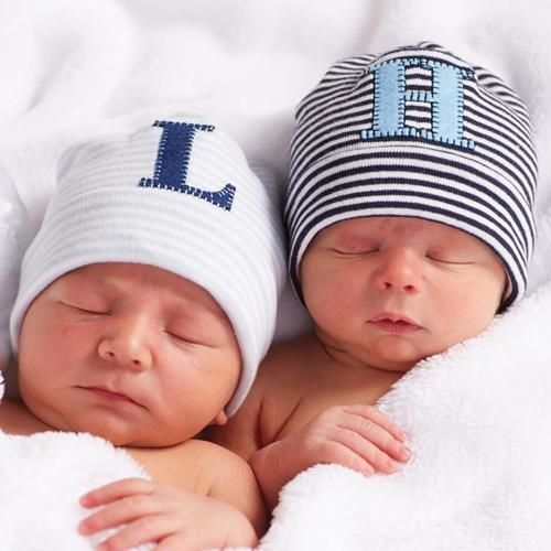 Initial Monagrammed Baby Hat For Boys - Largest Twin Store & Twin Gift Registry!