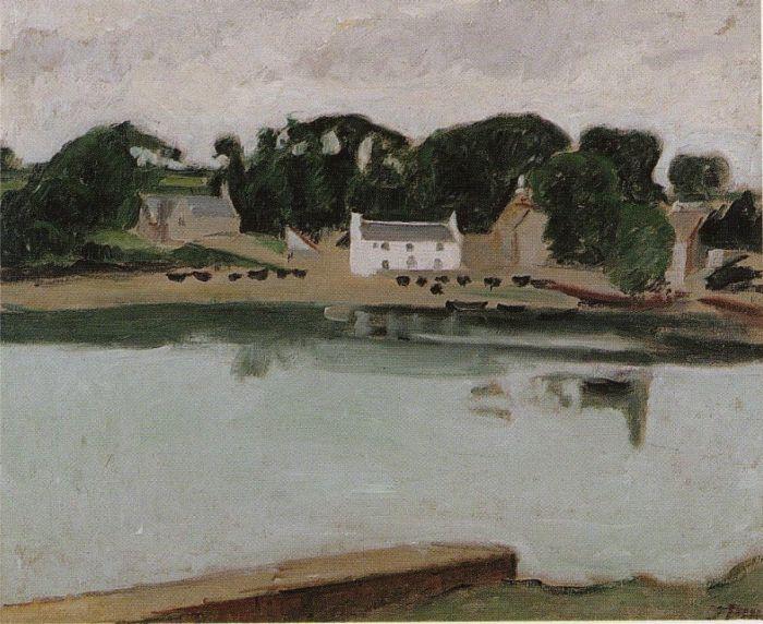 """""""Sainte Marine"""" - Jean Puy  naviguait ...Pour peindre Ste Marine et sa chapelle, que l'on voit de Bénodet, l'artiste a usé d'un coloris plus éclatant que celui de Dauchez."""