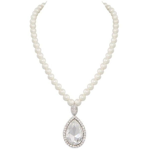 Ambassador White Freshwater Pearl Swarovski Crystal Necklace (470 PEN) ❤ liked on Polyvore featuring jewelry, necklaces, fresh water pearl jewelry, swarovski crystal jewellery, swarovski crystal necklace, white jewelry and swarovski crystals jewelry