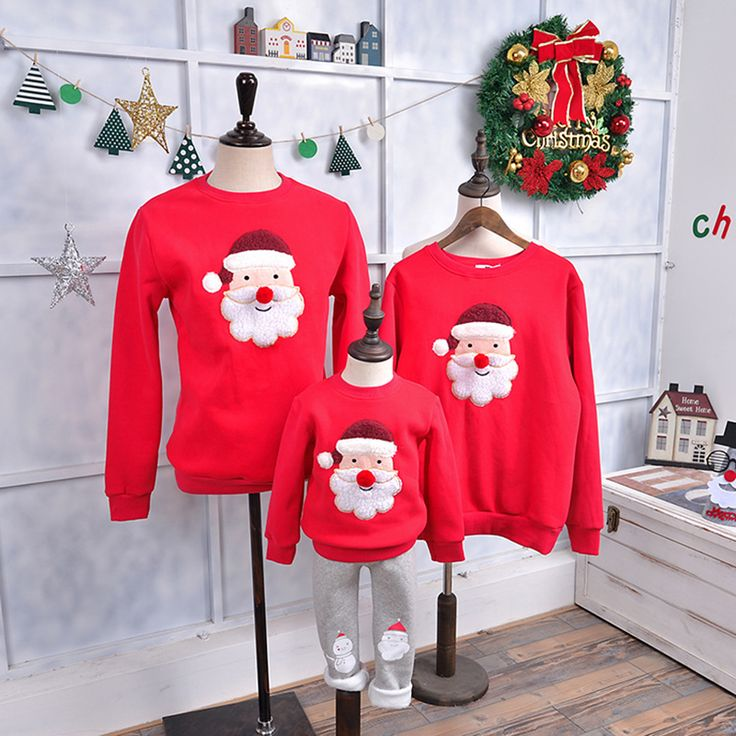Christmas Sweater Santa Claus Red Nose Children Clothing Family Matching Outfits Kid T-shirt Add Wool Warm Family Clothes p205