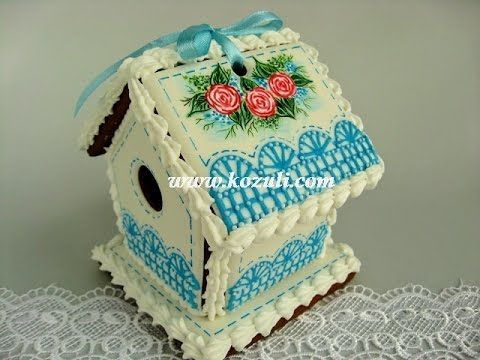 VIDEO. @kozuli_com // 3D Cookies / Easter Birdhouse. Spring House. Gingerbread House. Wet on wet Lace Cookie. Royal icing cookies. Decorated cookies. // Cookie decorating with royal ising // www.kozuli.com