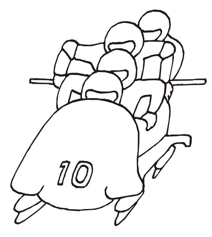 4-man Bobsleigh coloring page (aka bobsled) . Winter Olympics printables.