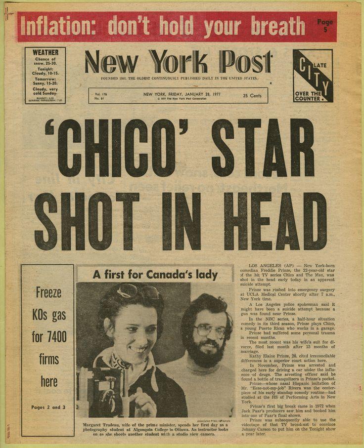 """Newspaper Headline (""""' Chico' Star Shot In Head,"""" New York"""