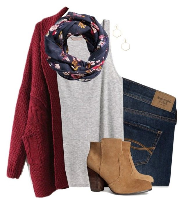 """""""Oversized cardigan, floral scarf & suede boots"""" by steffiestaffie ❤ liked on Polyvore featuring Abercrombie & Fitch, H&M and Sole Society"""