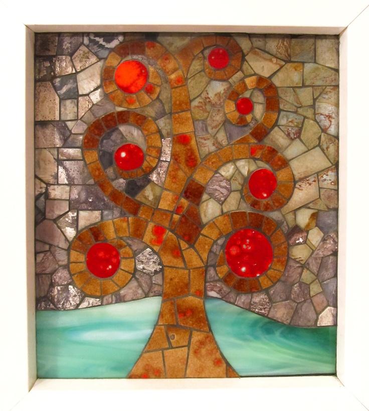 Rbol de la vida mosaico realizado en piedra azulejos y - Azulejos para mosaicos ...