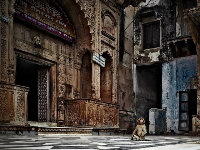 A temple courtyard in Vrindavan, India