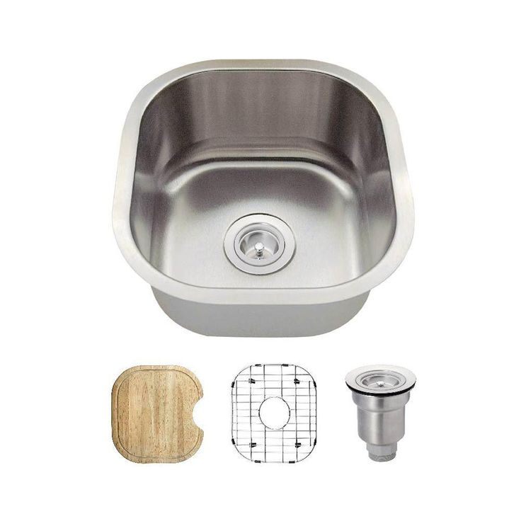 All-in-One Undermount Stainless Steel 16 in. Single Basin Bar Sink, Brushed Satin