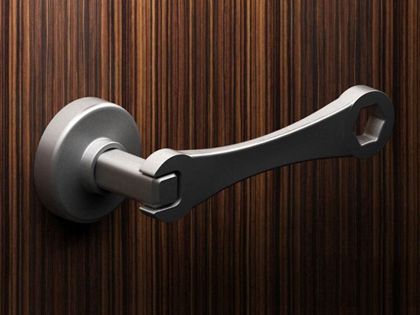 Wrench door handle great for the garage or a man cave for Man door design