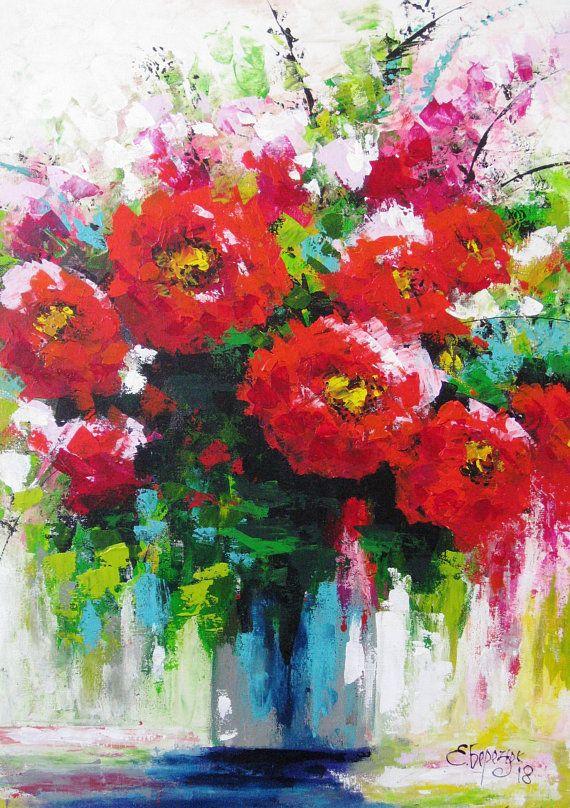 Welp Bloem decor Paletmes schilderen op doek Acryl schilderij decor WS-43