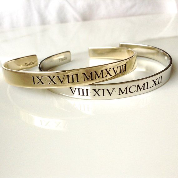 Engraved Roman Numeral Cuff . Personalized Anniversary Gift for Couple . Engraved Bracelet Present for Girlfriend