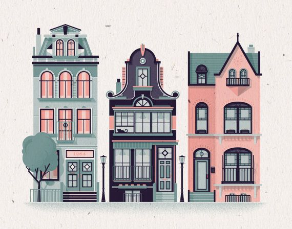"""Row Houses Print - 14"""" x 11"""" French Paper Speckletone True White 100# Cover, Vintage Inspired"""